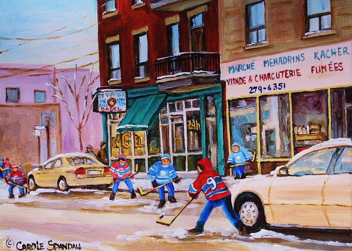 Montreal Greeting Card featuring the painting St. Viateur Bagel With Boys Playing Hockey by Carole Spandau