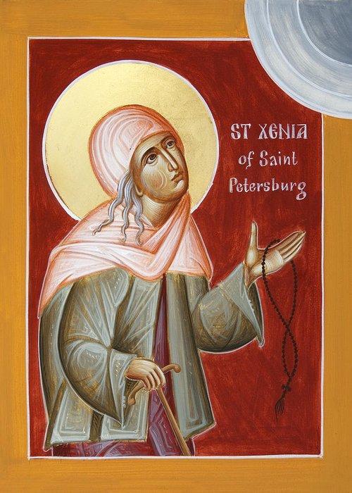 St Xenia Of St Petersburg Greeting Card featuring the painting St Xenia Of St Petersburg by Julia Bridget Hayes