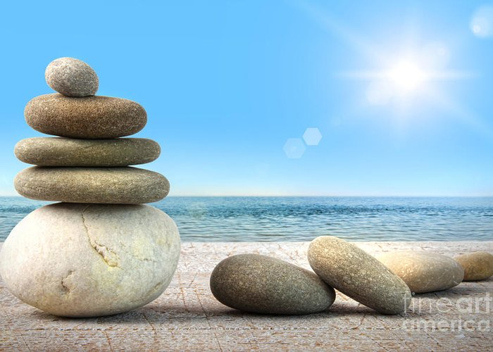 Arrangement Greeting Card featuring the photograph Stack Of Spa Rocks On Wood Against Blue Sky by Sandra Cunningham