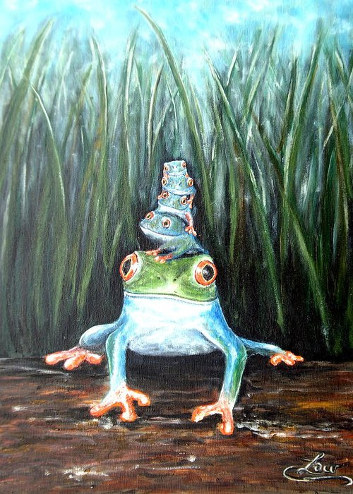 Frog Greeting Card featuring the painting Stacked by Chris Law