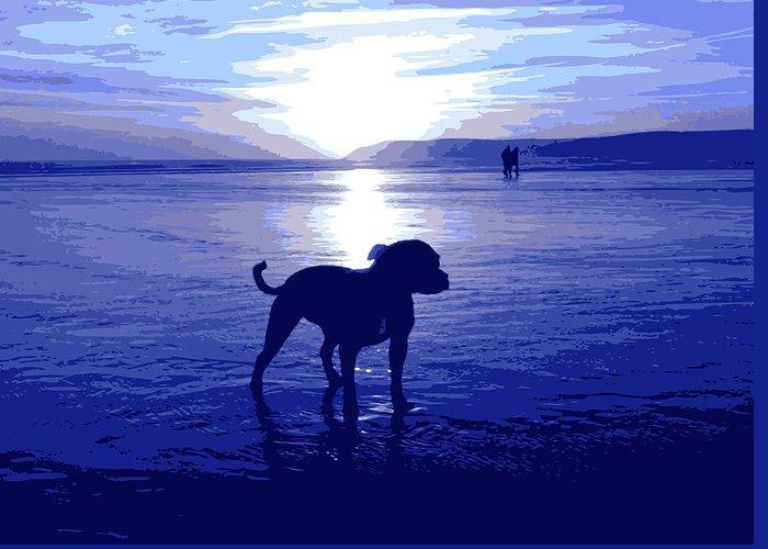 Staffordshire Bull Terrier Greeting Card featuring the digital art Staffordshire Bull Terrier On Beach by Michael Tompsett