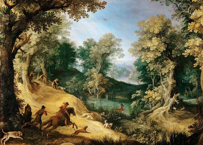 Attributed To Paul Bril Greeting Card featuring the painting Stag Hunt by Attributed to Paul Bril