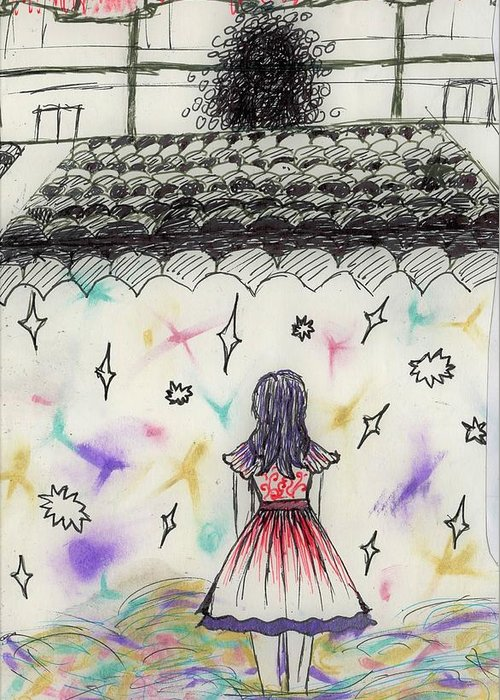 Greeting Card featuring the drawing Stage Fright by Desiree D'Arnall