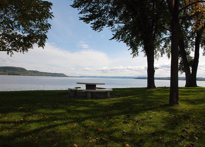 Lake Pepin Greeting Card featuring the photograph Stahli Park by Larry Nielson