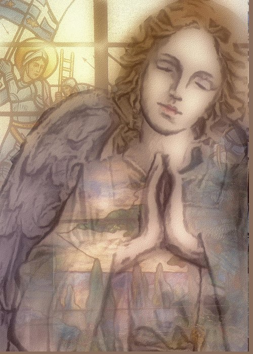 Angel Greeting Card featuring the digital art Stain Glass Angel by Jean Gugliuzza