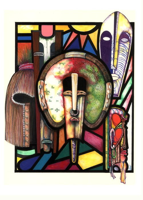 Stain Glass Greeting Card featuring the drawing Stain Glass by Anthony Burks Sr