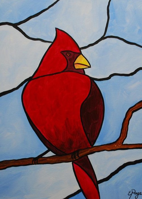 Stained Glass Greeting Card featuring the painting Stained Glass Cardinal by Emily Page