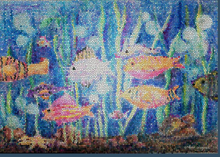 Fish Greeting Card featuring the mixed media Stained Glass Fish by Arline Wagner
