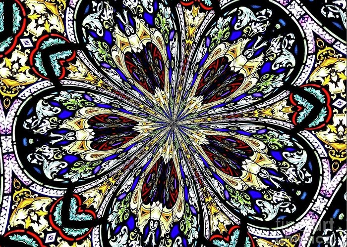 Stained Glass Window Greeting Card featuring the photograph Stained Glass Kaleidoscope 38 by Rose Santuci-Sofranko