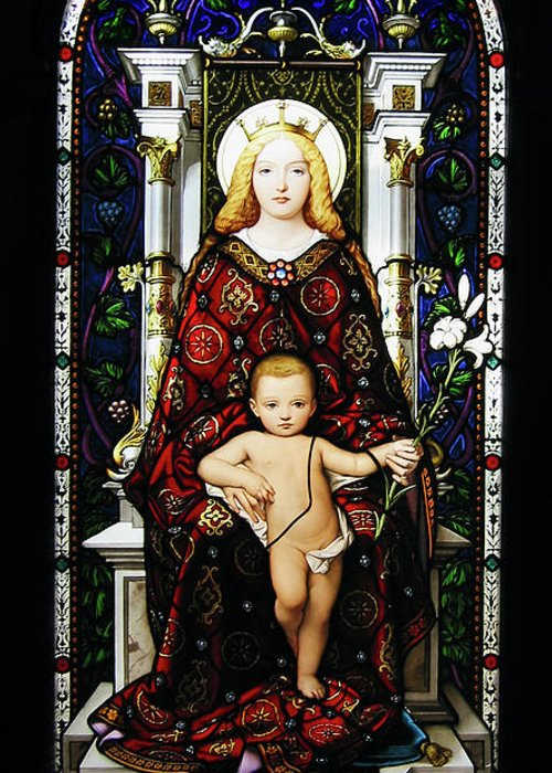 3scape Photos Greeting Card featuring the photograph Stained Glass Of Virgin Mary by Adam Romanowicz