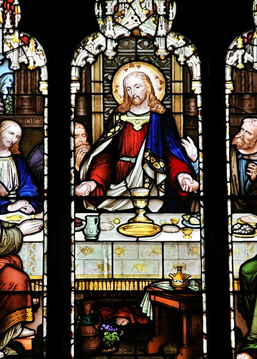 Stained Greeting Card featuring the photograph Stained Glass Window Last Supper Saint Giles Cathedral Edinburgh Scotland by Christine Till