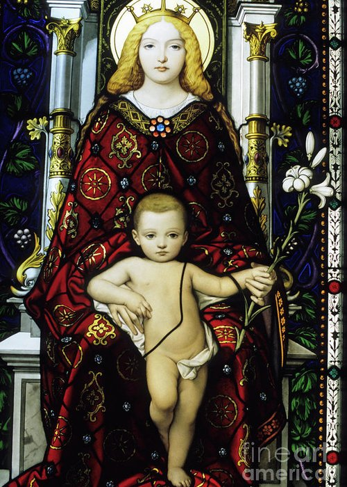 Art Greeting Card featuring the photograph Stained Glass Window Of The Madonna And Child by Sami Sarkis