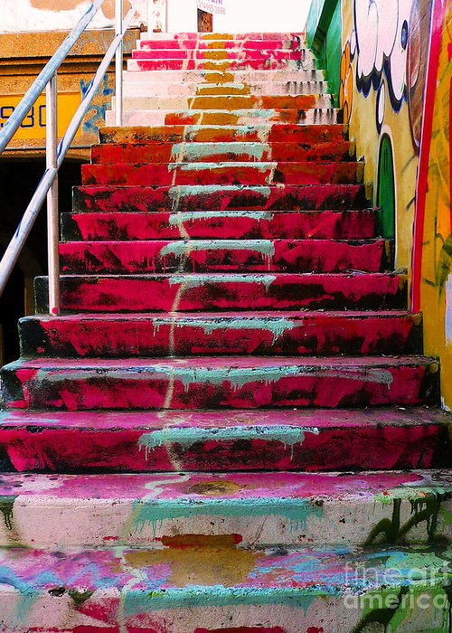 Stairs Downtown Greeting Cards