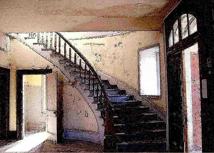 Meade Hotel Greeting Card featuring the photograph Stairway - Meade Hotel - Bannack Mt by Nelson Strong