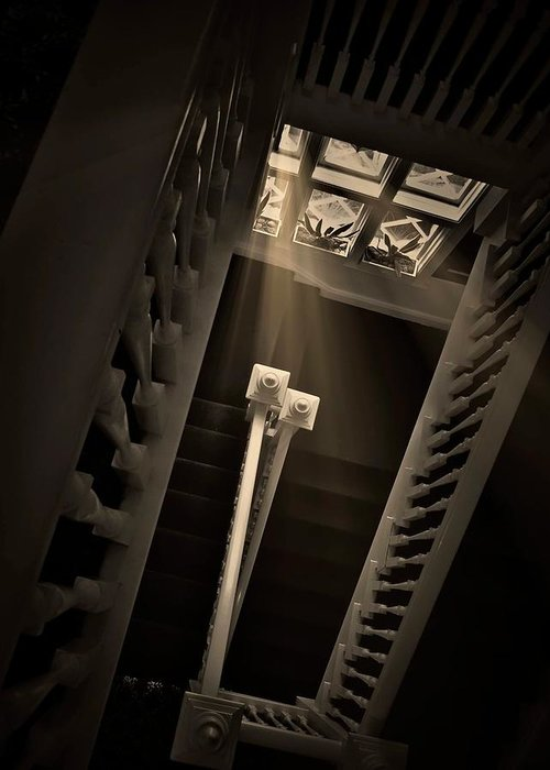 Old Greeting Card featuring the photograph Stairway Light, Redstone Castle, Colorado by Zayne Diamond Photographic