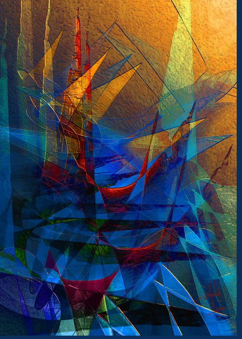 Abstract Greeting Card featuring the digital art Stairway Upon Grail Passeges by Stephen Lucas