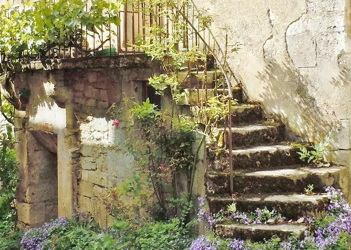 Europe Greeting Card featuring the photograph Stairway With Flowers Flavigny France by Marilyn Dunlap
