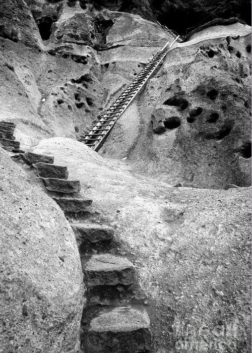 B&w Greeting Card featuring the photograph Stairways To The Kiva by Sandra Bronstein