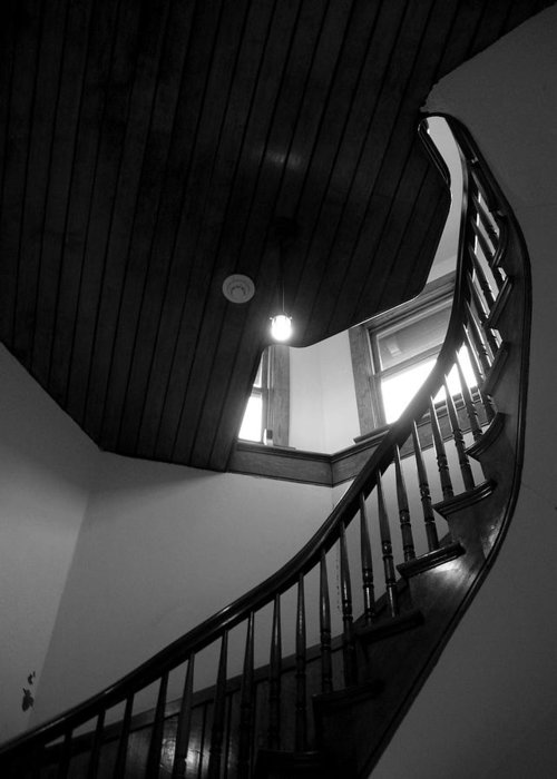 Stairs Greeting Card featuring the photograph Stairwell To The Studio Crow's Nest by Robert Boyette
