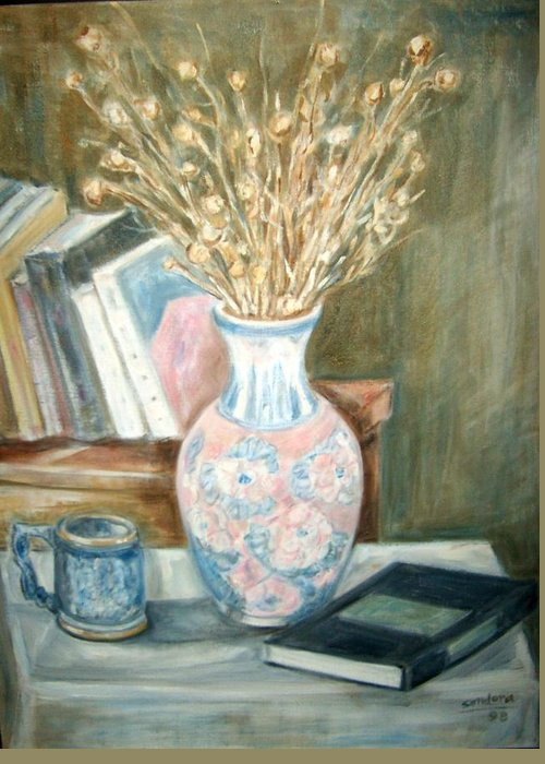 Still Life With Books Vase Dry Plants Book Greeting Card featuring the painting Stalks 2 by Joseph Sandora Jr