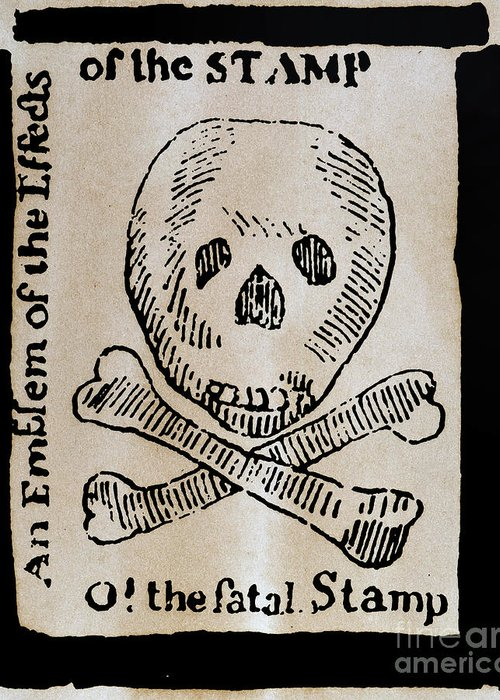 1765 Greeting Card featuring the photograph Stamp Act: Cartoon, 1765 by Granger