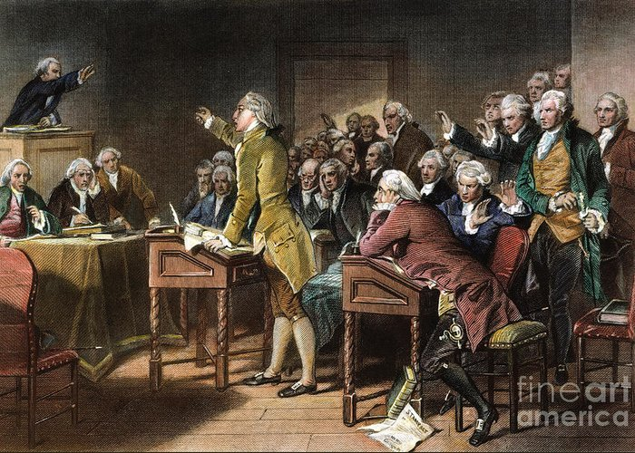 1765 Greeting Card featuring the photograph Stamp Act: Patrick Henry by Granger