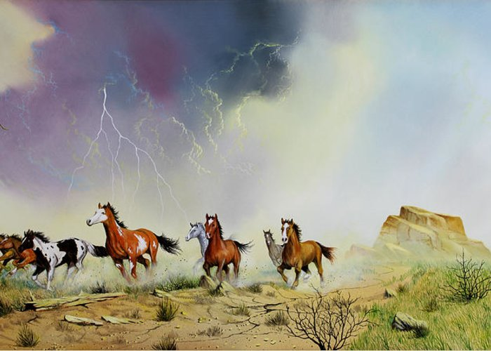 Mustangs Greeting Card featuring the painting Stampede by Don Griffiths