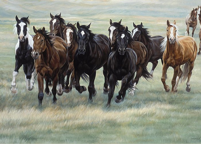 Michelle Grant Greeting Card featuring the painting Stampede by JQ Licensing