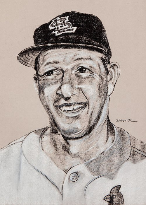 Stan Musial Drawings Greeting Cards