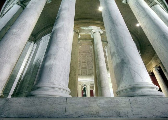 Jefferson Memorial Greeting Card featuring the photograph Stand Like A Rock by Mitch Cat