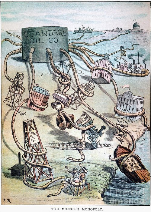 1884 Greeting Card featuring the photograph Standard Oil Cartoon by Granger