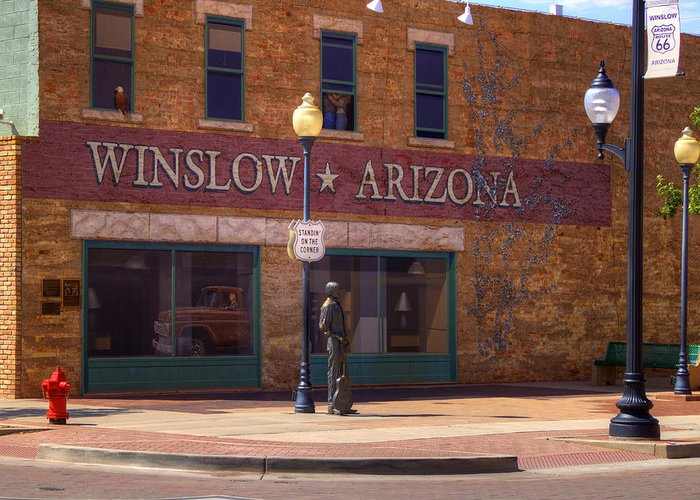 Winslow Greeting Card featuring the photograph Standin On A Corner by Ricky Barnard