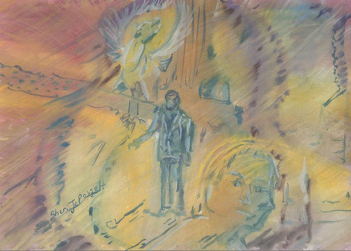 Man Standing In The Fog Paintings Greeting Cards
