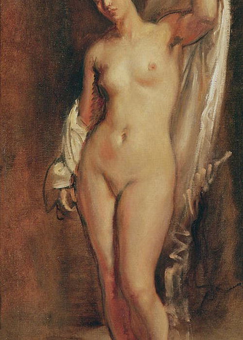Standing Greeting Card featuring the painting Standing Female Nude by Theodore Chasseriau