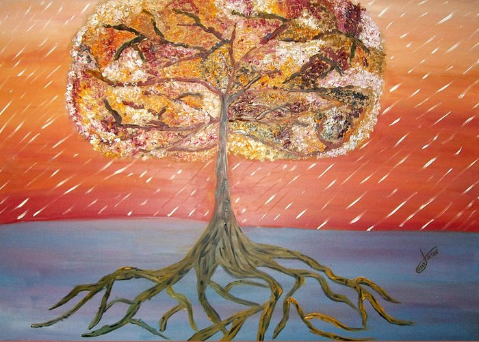Oil Painting Greeting Card featuring the painting Standing In The Storm by Alexandra Torres