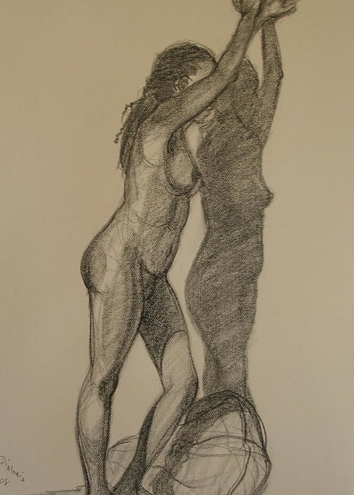 Realism Greeting Card featuring the drawing Standing Nude 1 by Donelli DiMaria