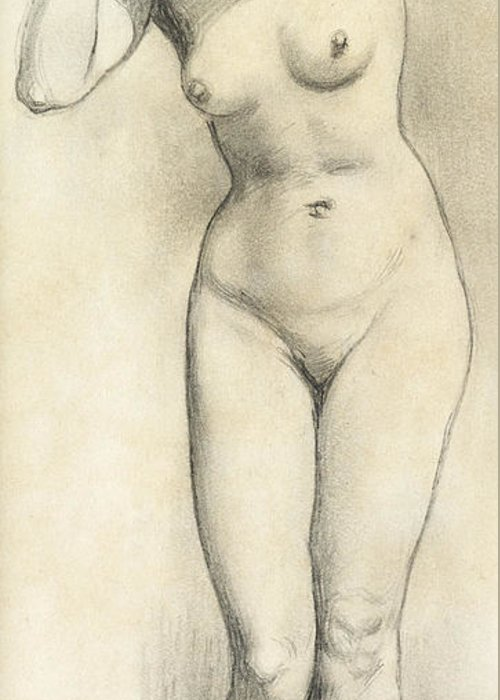 Nude Greeting Card featuring the drawing Standing Nude by William Edward Frost