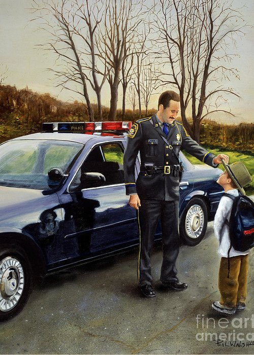 Police Officer Greeting Card featuring the painting Standing Tall by Paul Walsh