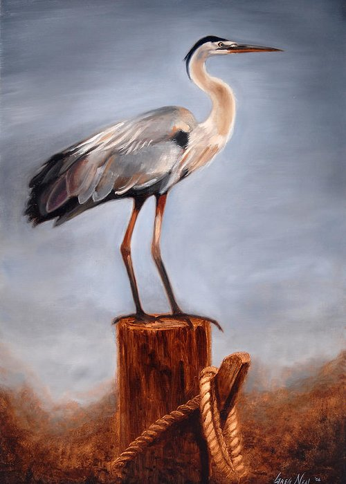 Heron Greeting Card featuring the painting Standing Watch by Greg Neal