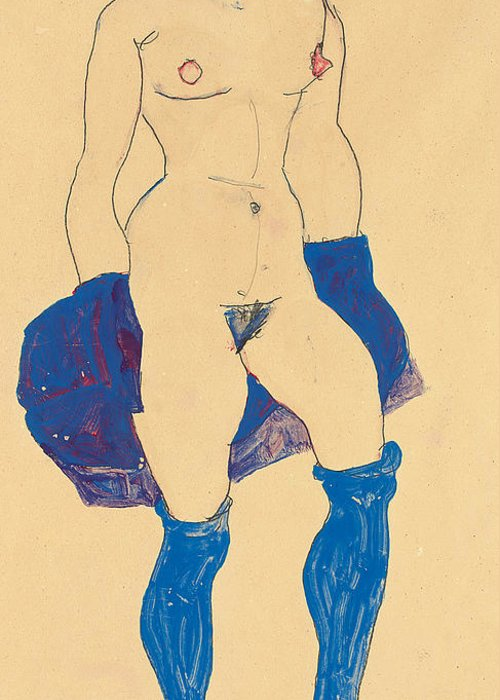 Nude Greeting Card featuring the drawing Standing Woman With Shoes And Stockings by Egon Schiele