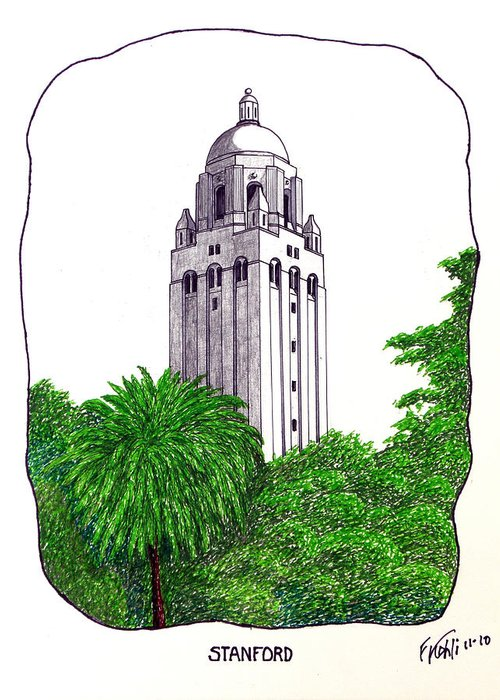 Pen And Ink Stanford University Campus Buildings Drawings Greeting Card featuring the drawing Stanford by Frederic Kohli