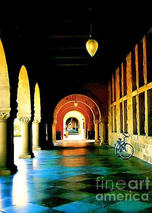 Canvas Greeting Card featuring the photograph Stanford U Hallway by Amy Elaine