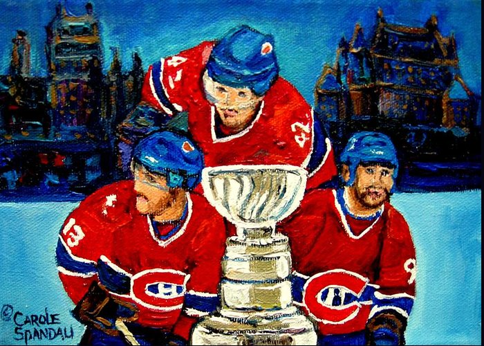 Greeting Card featuring the painting Stanley Cup Win In Sight Playoffs  2010 by Carole Spandau