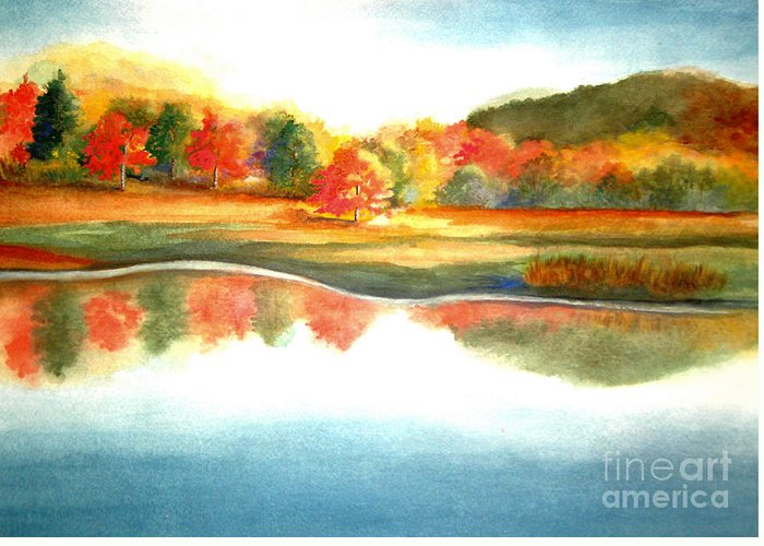 Landscape Greeting Card featuring the painting Stanley Park In The Fall by Vivian Mosley