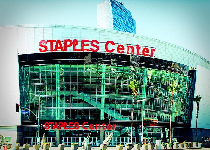 Downtown Los Angeles Greeting Card featuring the photograph Staples Center Color by Ariane Moshayedi