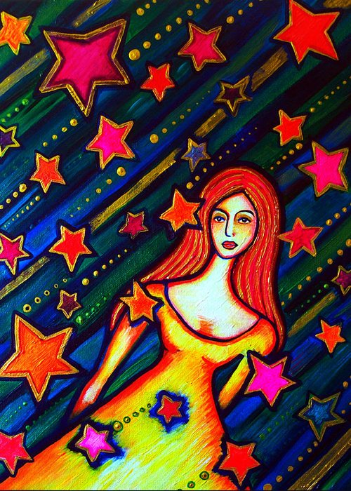 Bright Greeting Card featuring the painting Star Crossed by Brenda Higginson