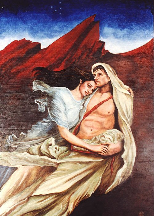 Portrait Greeting Card featuring the painting Star Crossed Lovers by Teresa Carter