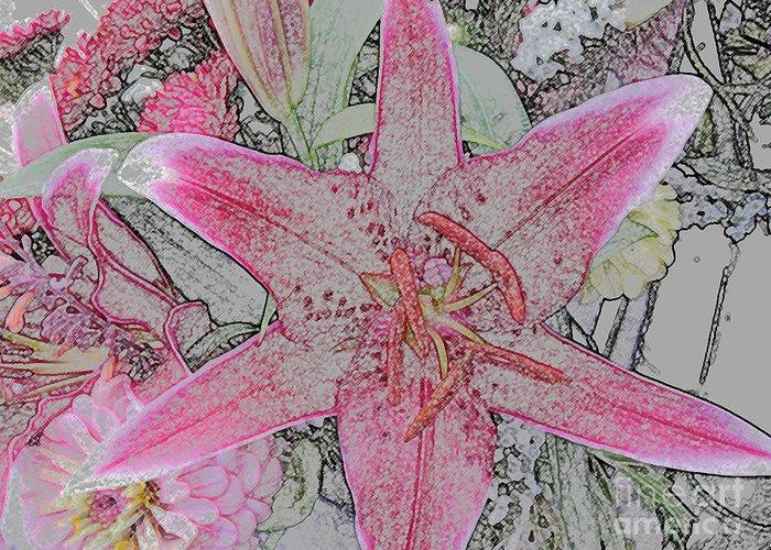 Pink Greeting Card featuring the digital art star Flower as Pencil Sketch by Joan Norris