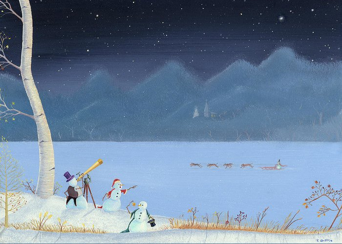 Snowman Greeting Card featuring the painting Star Gazing Snowmen by Thomas Griffin