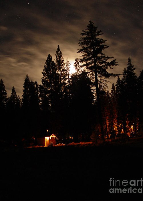 Moonlight Greeting Card featuring the photograph Star Lit Camp by Peter Piatt